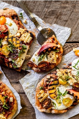 Grilled Corn and Peaches Flatbread